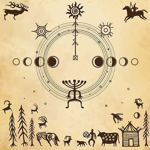 Наскальные рисунки, охота на оленей, лошади, солярные знаки