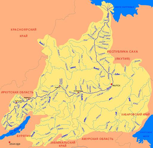 Река Лена с притоками на карте России