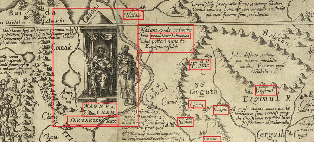 Великий хан Тартарии на древней карте Даниэля Келлера 1590 г.