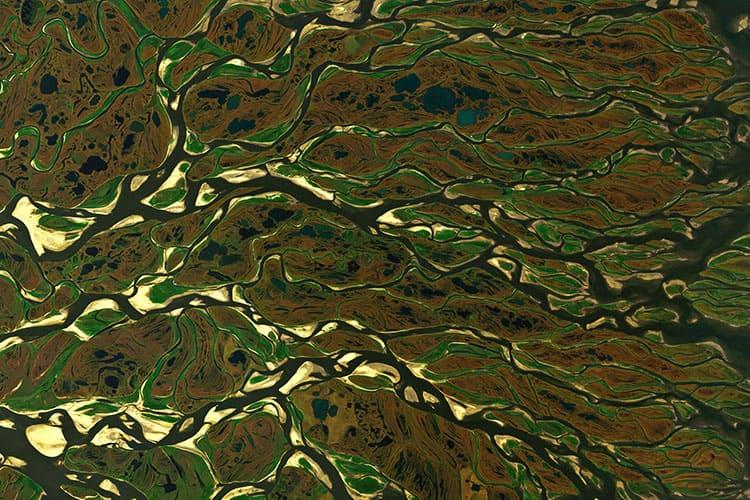 Устье реки Лена с воздуха с высоты птичьего полета