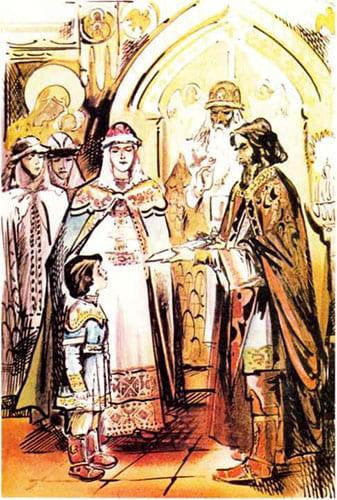 П.Анидалов. Вручение меча юному княжичу Александру