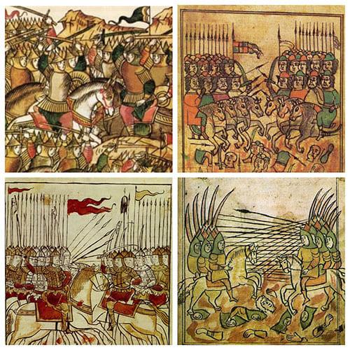 Картины битв русских полков с татаро-монголами