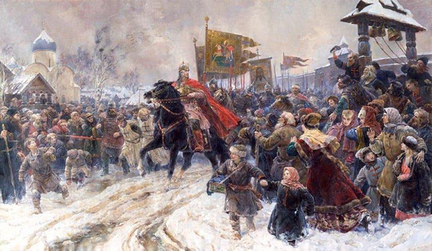 В.А.Серов. Въезд Александра Невского в Псков