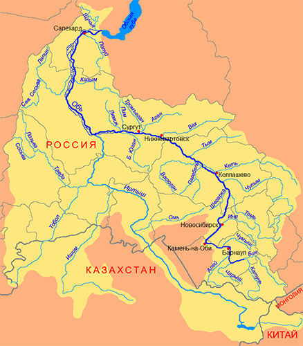Река Обь на карте России с притоками