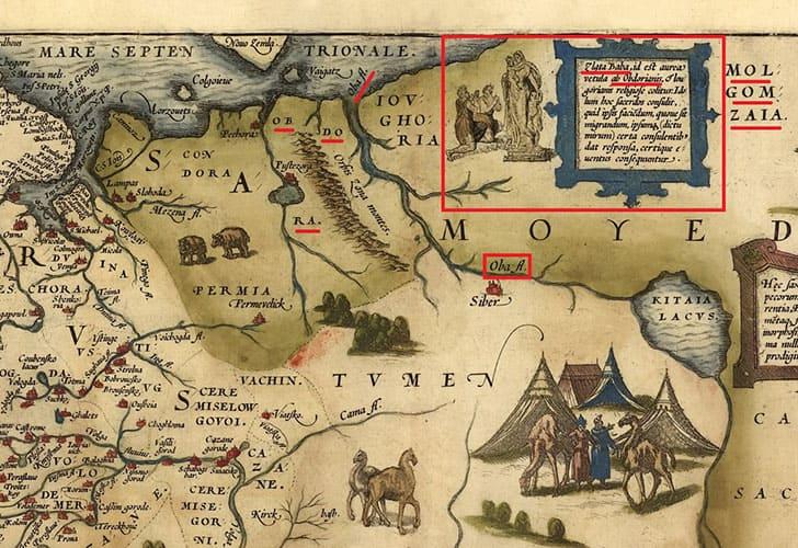 Река Обь и Золотая Баба на карте Дженкинсона 1562 года