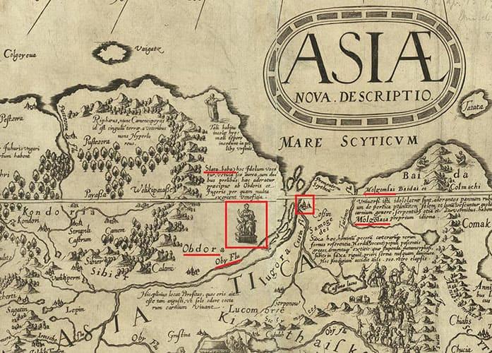 Река Обь и Золотая Баба на карте Даниэля Келлера 1590 года