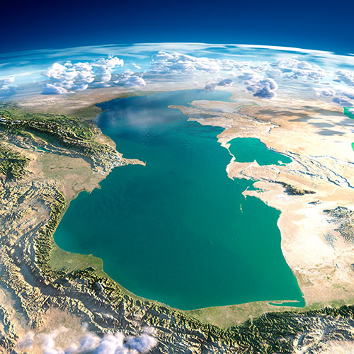 Каспийское море вид с орбиты